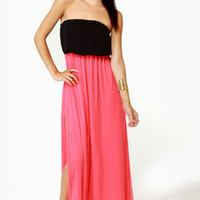 Who's Who Black and Coral Maxi Dress