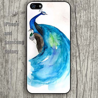 Watercolor Peacock blue dream iphone 6 6 plus iPhone 5 5S 5C case Samsung S3, S4,S5 case, Ipod touch Silicone Rubber Case Phone cover Waterproof