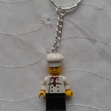 chef cook   minifigure keychain keyring  made with LEGO® bricks