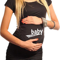 Fitness Maternity T-Shirt Baby Established 2013 Black
