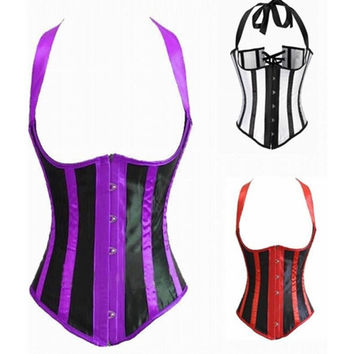 2015 hot Sexy Women Waist Training Steampunk Corset Underbust Bustiers Shoulder Strap string Corset Top Black white Stripe S-XXL = 1930082628