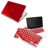 Clear Red Hard Shell Case Compatible With 13-Inch Macbook Pro, W/ Free Red Keyboard Skin