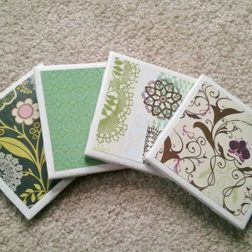 Green Ceramic Tile Coasters with Felt Backing by MadebyMegShop