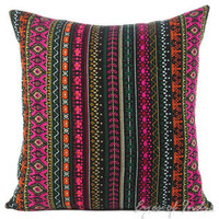 "Colorful Black Dhurrie Decorative Pillow Cushion Cover - 16"", 24"""