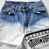 High Waisted Bleached Tribal Jean Shorts Size 1