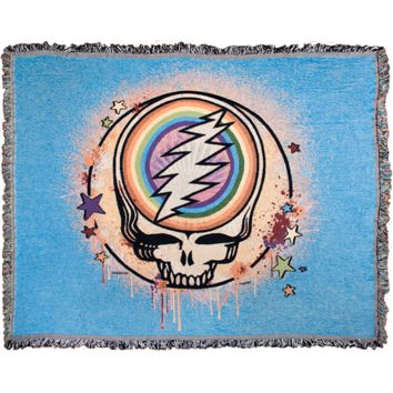 Grateful Dead Blue Rainbow Splatter Stealie Woven Cotton Blanket