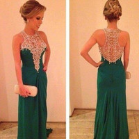 Halter Prom Dresses,Green Prom Dresses, Long Evening Dress