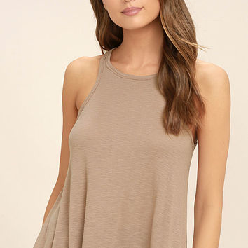 Free People LA Nite Light Brown Tank Top