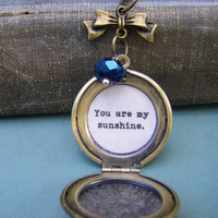 You are My Sunshine Locket Necklace quote locket gift for daughter friend wife womes locket quote locket necklace