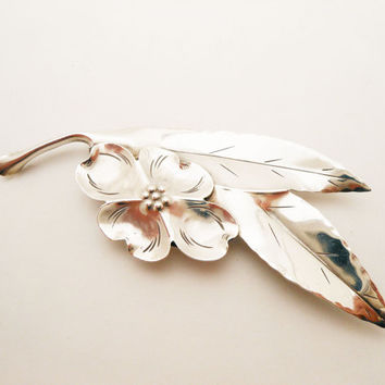 Vintage Sterling Silver Brooch, Stuart Nye Dogwood Flower Pin