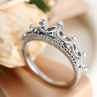 Silver Princess Crown Ring Promise Love Gift Gift + Free Shipping + Big Discount