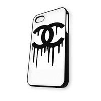Black White Chanel Logo iPhone 4/4S Case