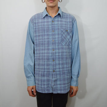 90s Plaid Shirt Large Mens Denim Vintage Soft grunge Preppy Hipster Light Wast Blue Jean Long Sleeve Button Collared Women Unisex Oversize