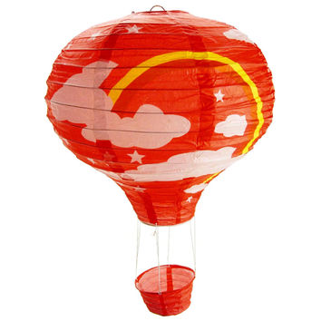 Rainbow Paper Hot Air Balloon Hanging Decor, 15-Inch, Red