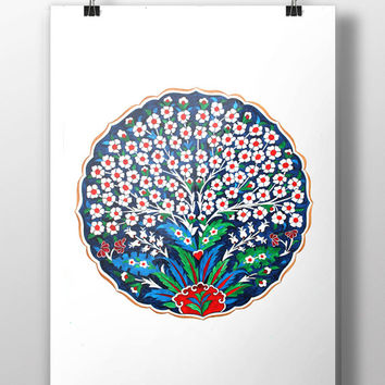 Ottoman Tree Design Art Watercolor Print Turkey Digital Print Turkish Wall Art Traditional Wall Decor Wall Hanging
