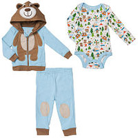 Koala Baby Boys' 3 Piece Blue/Brown Playwear Set with Bear Hoodie, Long Sleeve Printed Bodysuit and Knit Pants