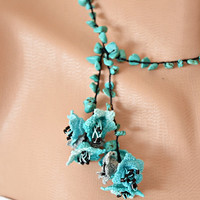 Turquois Natural Stone Crochet Flowers Oya Necklace Beaded Jewelry Crochet Jewellery Beadwork Crochet ReddApple