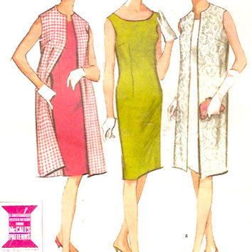 60s mod dress and sleeveless coat vintage sewing pattern McCalls 7819 bridesmaid or cocktail dress Bust 38 Wedding party