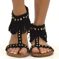 Havasu Studded Vegan Suede Black Fringe Sandals