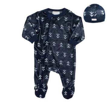 Coccoli Baby Boys' Licorice Zipper Velour Footie and Cap