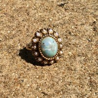 Vintage White Pearl and Amazonite Cocktail Gold Plated Ring