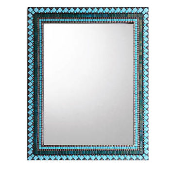Mosaic Wall Mirror, Teal Black Copper