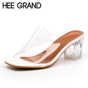 HEE GRAND Transparent Sandals 2017 Mew Mules Summer Beach Leisure Shoes Woman Slip On High Heels Sexy Pumps XWZ4188