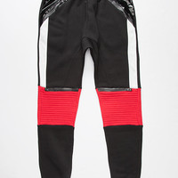 Uncle Ralph Color Block Mens Moto Jogger Pants Black/Red  In Sizes