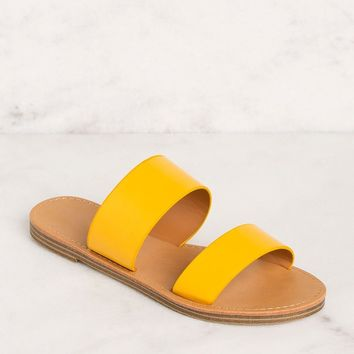Katida Mustard Slide On Sandals