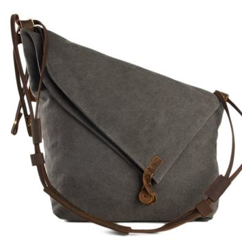 BLUESEBE WOMEN WAXED CANVAS CROSSBODY MESSENGER BAG 6631-DG