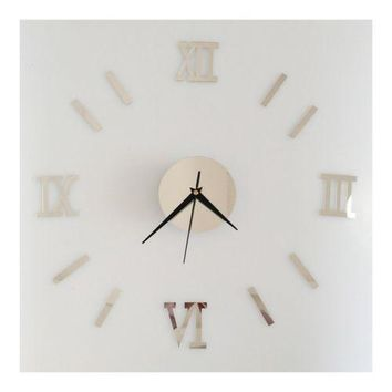 Roman Digit Acrylic Wall Clock Decoration    silver mirror