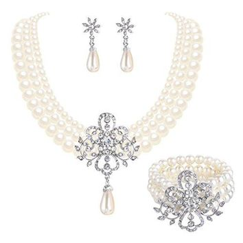 SHIP BY USPS:  Women's Silver-tone Simulated Pearl Crystal Victorian Style Flower Bridal Necklace Earrings Bracelet Set Ivory Color
