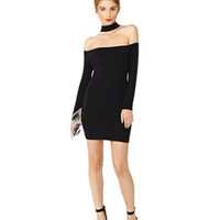 Black Off Shoulder Knitted Bodycon  Dress