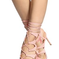 Blush Faux Suede Cut Out Wrap Around Single Sole Heels @ Cicihot Heel Shoes online store sales:Stiletto Heel Shoes,High Heel Pumps,Womens High Heel Shoes,Prom Shoes,Summer Shoes,Spring Shoes,Spool Heel,Womens Dress Shoes