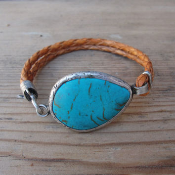 Leather Turquoise Bracelet - Rustic Gemstone Jewelry Leather and Metal