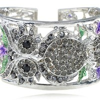 Silvery Crystal Rhinestone Owl Purple Rose Flower Fashion Bracelet Bangle Cuff