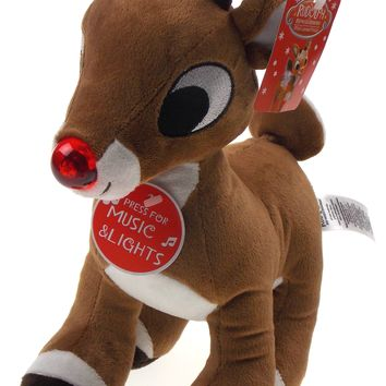 "Rudolph The Red Nosed Reindeer 11"" Licensed Product Plays Song Nose Lights Up"