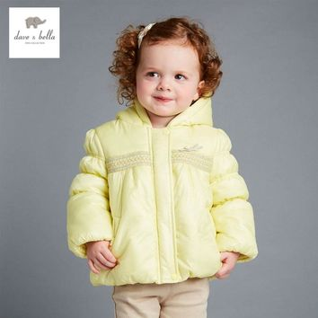DB4145 DAVEBELLA baby girl padded jacket children winter outerwear kids yellow jacket
