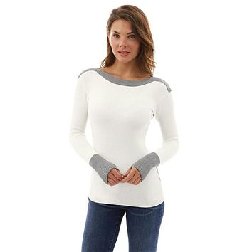 Womens Sexy O Neck Patchwork white grey Color Long Sleeve Jumper Sweaters Tops christmas sweater women sweaters and pullovers