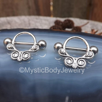 "Nipple Piercing Shield 14g Silver Barbell Rings 1.6mm Swirls Pair Gemstones Body Jewelry 9/16"" 14mm Set Nipples Ring Balls 5mm Gem Piercings"