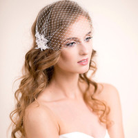 Bridal Birdcage Veil with Lace in Blush Pink - Bridal Hair Accessory with Lace - Bridal Hair Piece Birdcage Veil 9 inches - Ivory, White