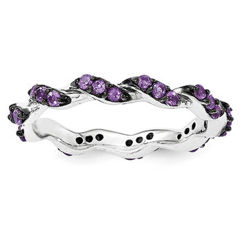 Sterling Silver Amethyst Black Rhodium Eternity Ring
