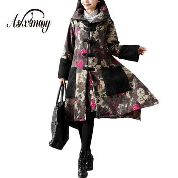 Oversize Winter Coat Women Warm Thick Velvet Maternity Long Jacket Trench Female Coat 2017 Vintage Floral Lady's Outwear Coats