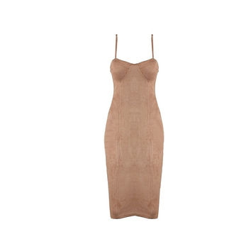 Beige Sude Knee Length Dress