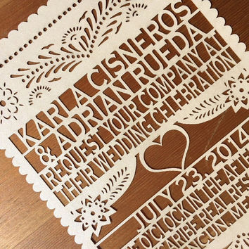 Ivory Heart Laser cut  Invitation - Papel Picado Inspired Wedding Rehearsal Engagement Bridal Shower Couples