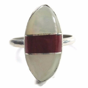 Vintage Navajo Mother of Pearl Coral Ring Sterling Size 6.5