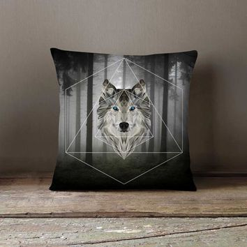 Geometric Wolf Pillowcase Forest Grey Decorative