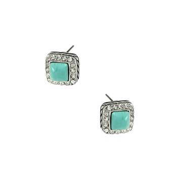 Turquoise Stone Square Designer Square Earrings