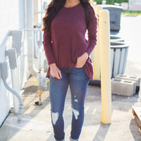 Split Back Everly Tunic - Wine