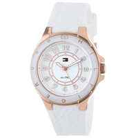 Tommy Hilfiger 1781275 Women's Sport White Dial White Silicon Strap Rose Gold Steel Watch